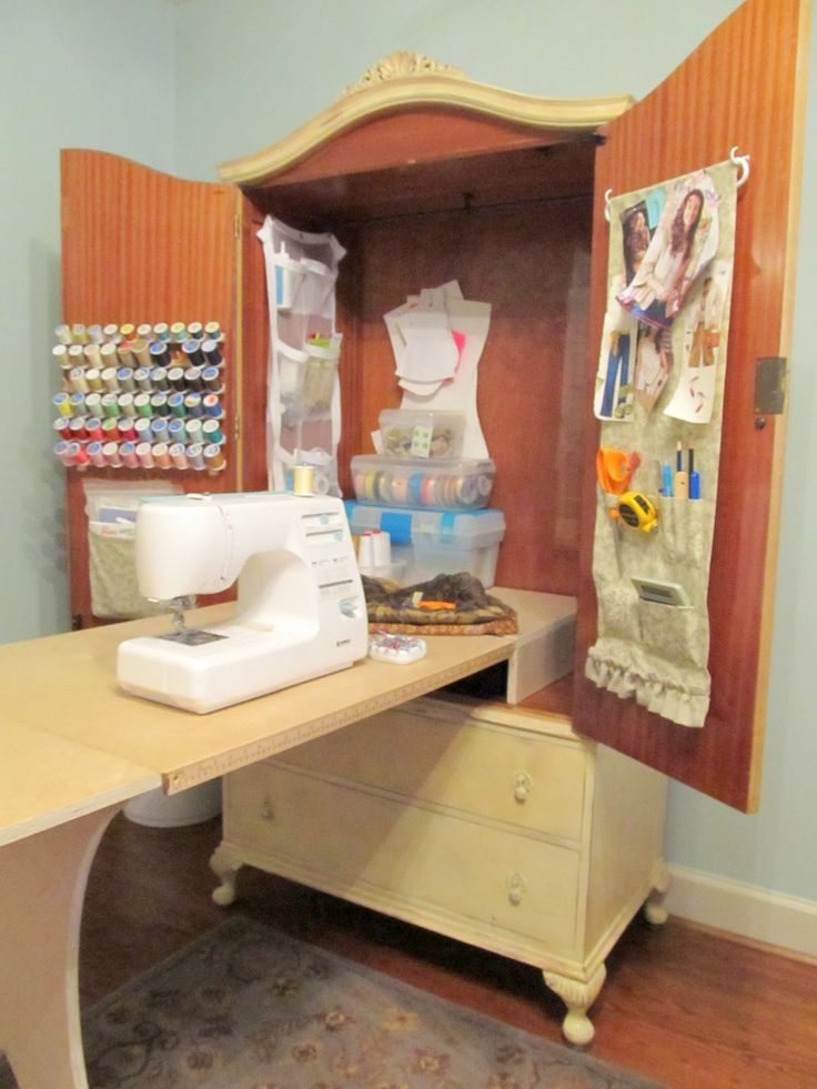 sewing tale armoire - Bing ImagesSewing Room, Sewing Stations, Diy Sewing, Sewing Tables, Murphy Beds, Sewing Cabinets, Tv Cabinets, Crafts Room, Sewing Machine