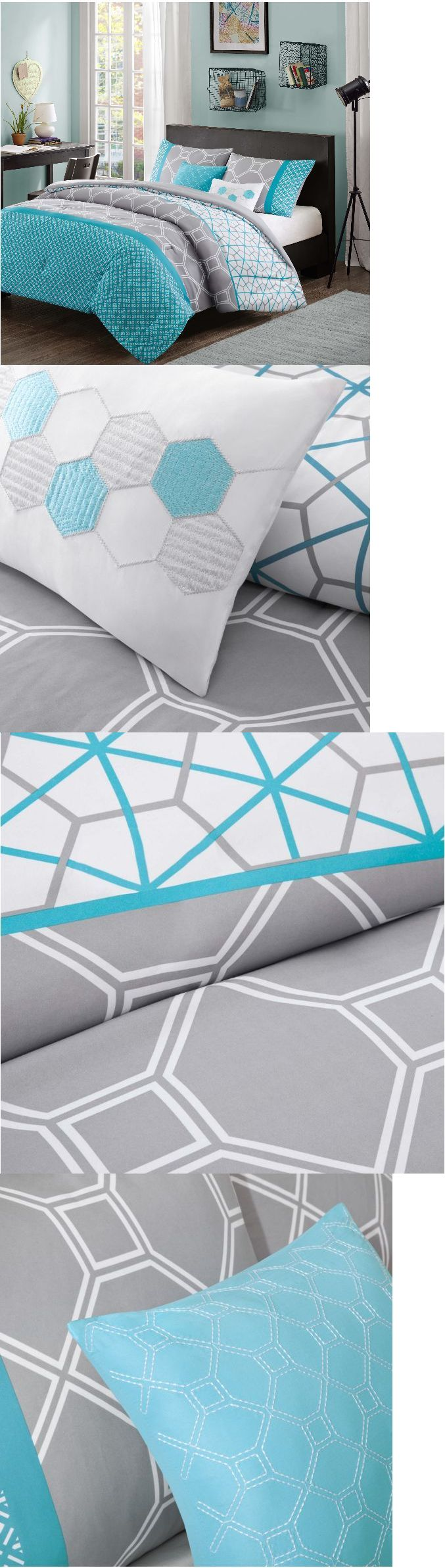 Kids Bedding: Bedding Sets For Teens Kids Comforter Girls Aqua Blue Gray Full Queen Twin 5 Pc -> BUY IT NOW ONLY: $69.99 on eBay!
