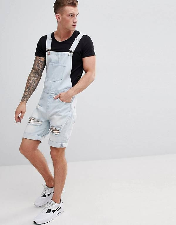 17d64be0c41 ASOS DESIGN Denim Short Dungarees In Light Wash Blue With Heavy Rips ...