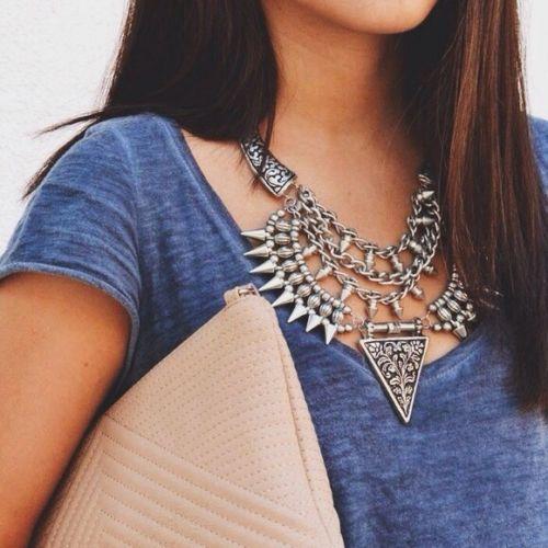 Zara Triangular Studded Necklace stones womens silver statement COLLAR BIB CHARM