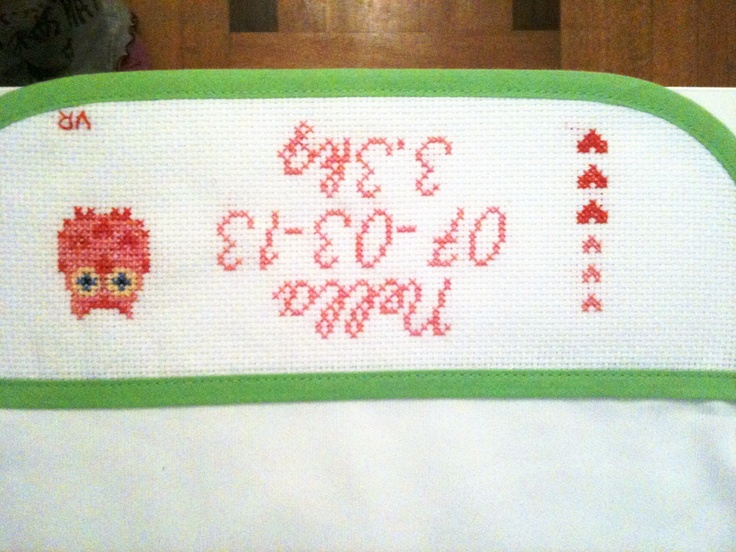 Baby bib for a friend's little girl #crossstitch #owl