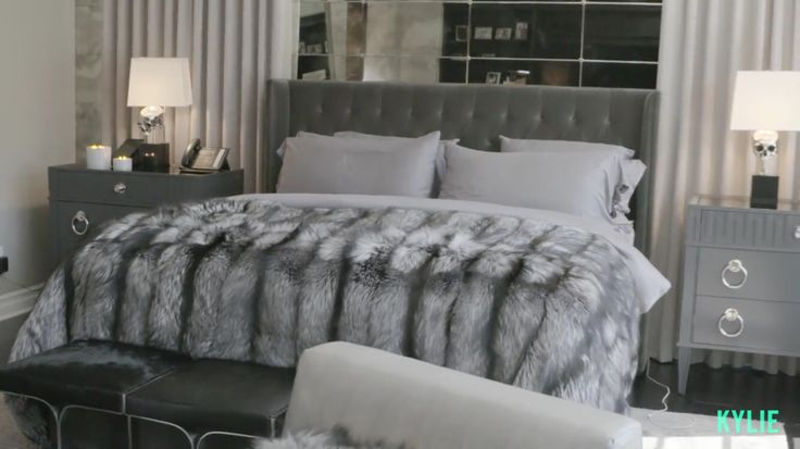 kylie jenner bedroom taupe grey fur cosy beautiful bedroom