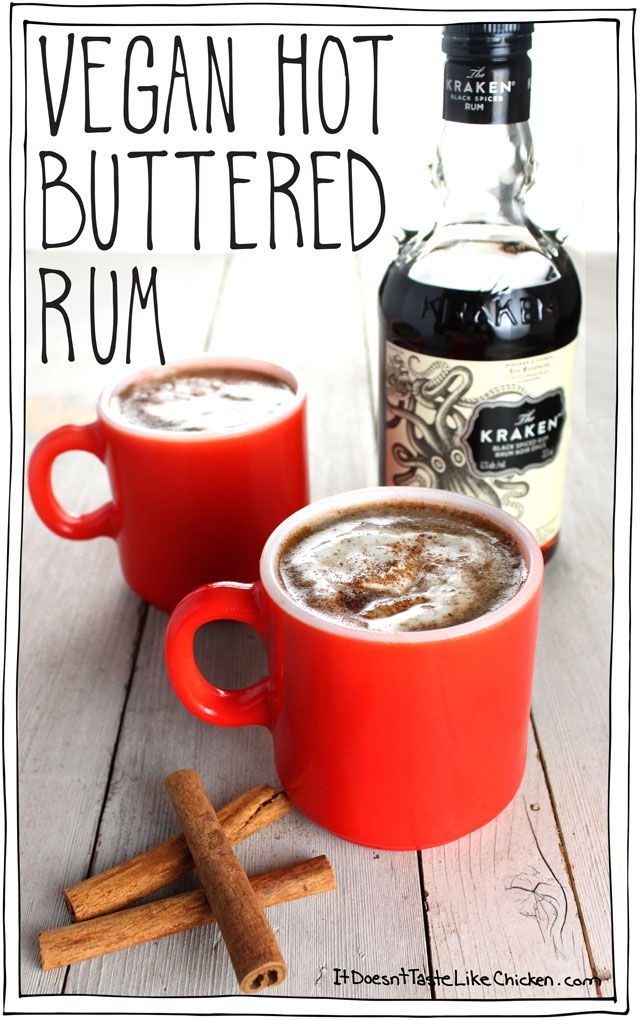 Vegan Hot Buttered Rum for 2! Quick and easy recipe for the perfect holiday cocktail. Creamy, dairy-free perfection. #itdoesnttastelikechicken