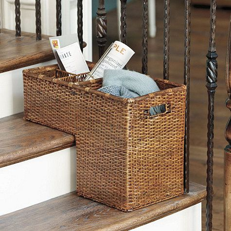 "So want this to organize the bottom of the stairwell for ""the items waiting for the next trip up""pile. :-) Rattan Step Basket"