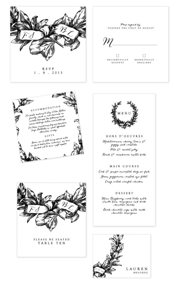 Just My Type Black and White Wreath Wedding Stationery NZ-03