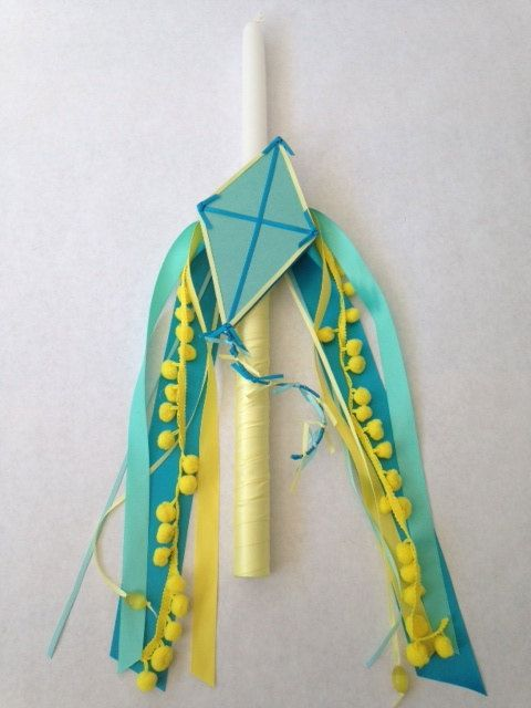 Up Up and Away Kite Easter Candle Labada Lampada by LimaniDesigns