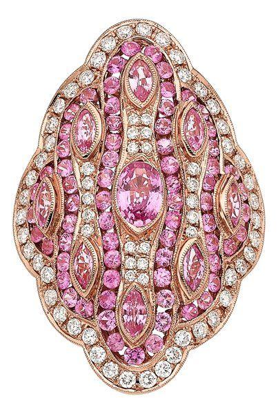 Pink Sapphire, Diamond, Gold Ring.