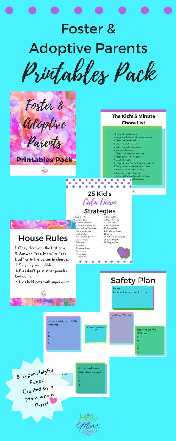 Foster and Adoptive Parents Printables Pack Foster Mother Adoptive Mom Adoption Foster Care Printable House Rules Strategies Family
