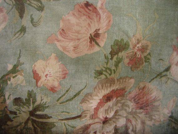 vintage floral wallpaper image,French shabby pink flowers ,large wooden tag/dresser/door hanger-salvaged wood. $12.00, via Etsy.