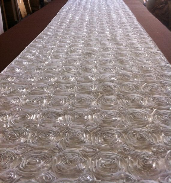 Custom Made White Tafetta Rosette Aisle Runner