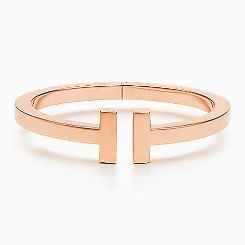 100.000$ Pulsera Tiffany T Square de oro rosa de 18k, mediana.