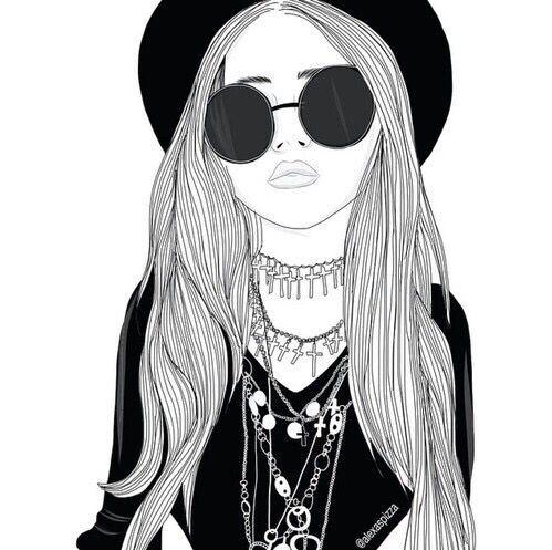 art, noir, dessin, mode, fille, grunge, cheveux, chapeau, bijoux, maquillage, collier, style