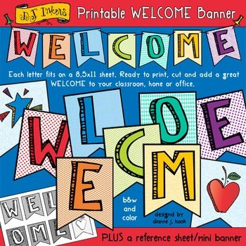 "Our friendly and colorful 'Welcome Banner' will make it easy to print, cut and add a nice warm welcome to your classroom, home or office. Also includes a single page mini banner you can use on your desk, in a window or as a reference sheet. Perfect for back to school, open houses, bulletin boards and parties!Each letter fits an 8.5""x11"" page and comes in black & white and color, in high quality .png and .jpg formats."