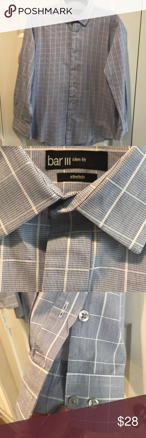 Bar III slim fit Stretch Dress Shirt Bar III from Macy's Dress Shirt. Shirt is 15-15.5 neck 32-33 Medium slim fit stretch easy care 70% cotton 30% polyester made in Indonesia. Used but in excellent condition was always dry cleaned. Colors are white and royal blue. Bar III Shirts Dress Shirts