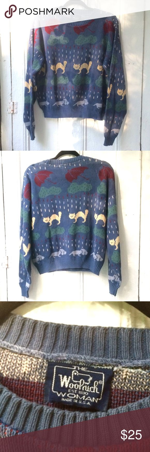 VINTAGE raining cats and dogs sweater This amazing sweater has tons of character! The only imperfections are some holes around the shoulders and one hole in front (pictured). Most likely wool or wool/cotton blend, would recommend washing separately in cold water and laying flat or hanging to dry. Offers welcome! Woolrich Sweaters Crew & Scoop Necks
