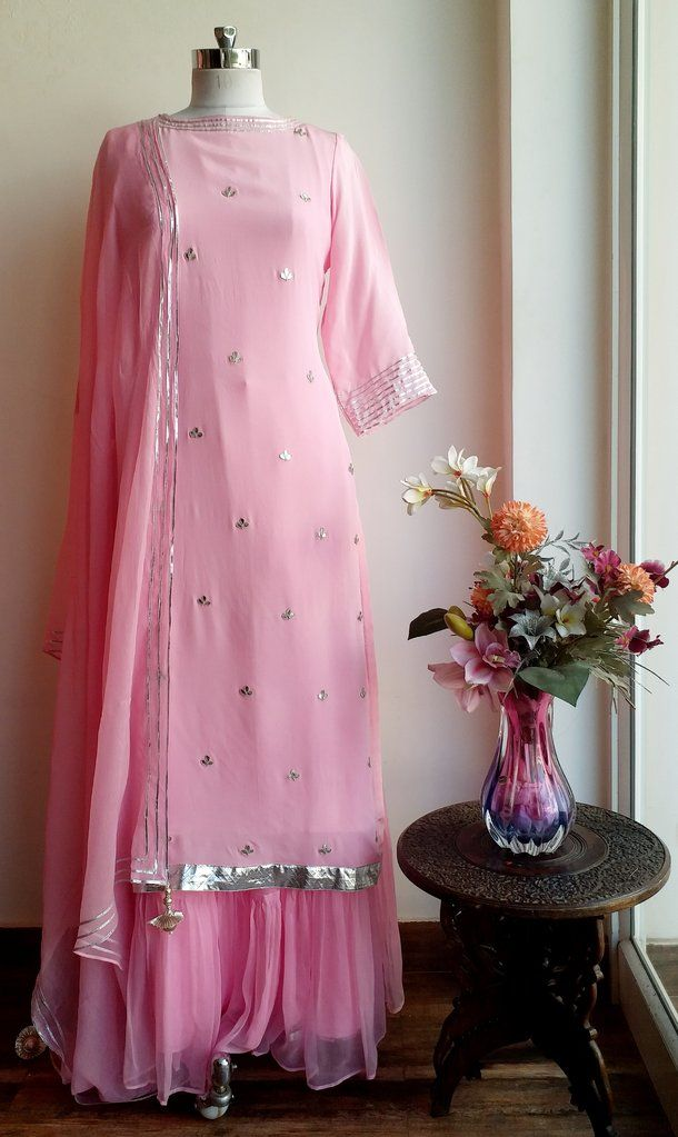 Powder Pink Gota Patti Sharara Set