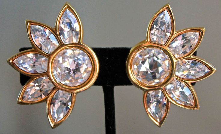 S A L Swarovski Earrings Clip On Gold Base Clear Crystal 1980 Vintage