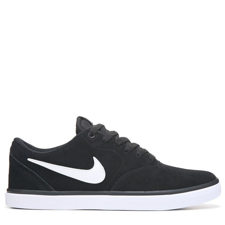 Nike Men's Nike SB Check Solar Suede Skate Shoes (Black/White) - 11.0 M