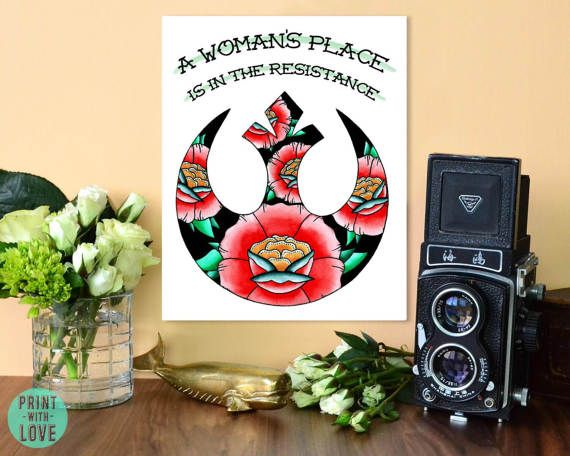 A Woman's Place is in the Resistance Star Wars Traditional Tattoo Flash Rose Rebel Alliance Symbol Feminist Watercolor Print