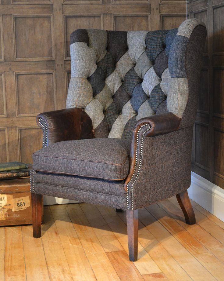 MacKenzie Patchwork Chair- Classic wing chair with patchwork buttoned back and leather arms. Hand studded facings and hand piping