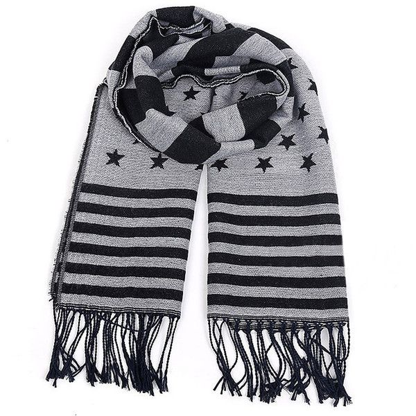 Yoins Black American Flag Print Wrap Scarf (46 BRL) ❤ liked on Polyvore featuring accessories, scarves, yoins, black, oversized scarves, tassel scarves, american flag scarves, american flag shawl and wrap scarves