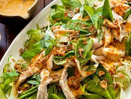 The secret to this salad lies in the easy Thai style dressing that is lavishly spooned over a bed of crispy greens and store bought cooked chicken. No cooking involved, this is a healthy quick meal that the entire family will love.