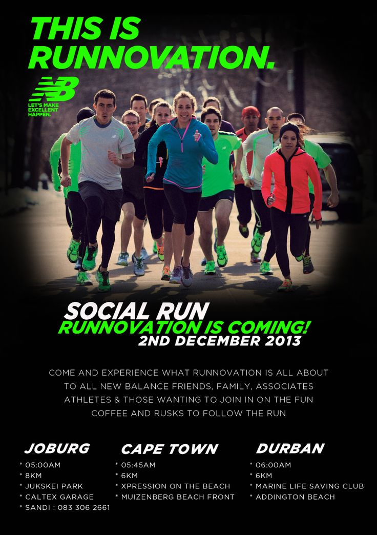 Come and join us at our New Balance Social Run - 2 December 2013, join in on the fun and come and see what Runnovation is all about...