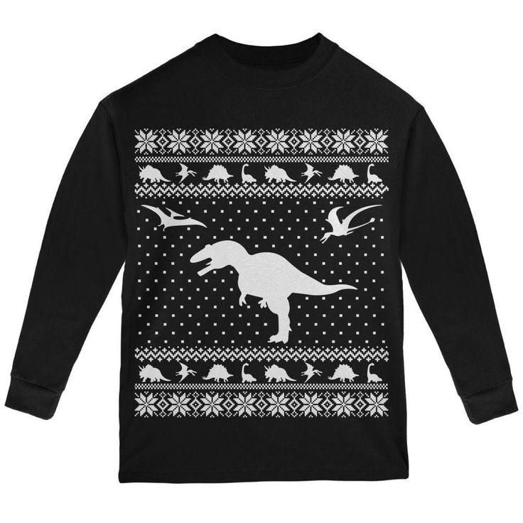 Dinosaurs Ugly XMAS Sweater Black Youth Long Sleeve T-Shirt