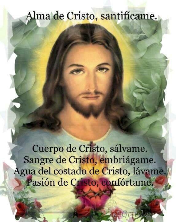 Alma de Cristo    Alma de Cristo, santifícame.  Cuerpo de Cristo, sálvame.  Sangre de Cristo, embriágame.  Agua del costado de Cristo, lávame.  Pasión de Cristo, confórtame.  ¡Oh, buen Jesús!, óyeme.  Dentro de tus llagas, escóndeme.  No permitas que me aparte de Ti.  Del maligno enemigo, defiéndeme.  En la hora de mi muerte, llámame.  Y mándame ir a Ti.  Para que con tus santos te alabe. Por los siglos de los siglos. Amén.