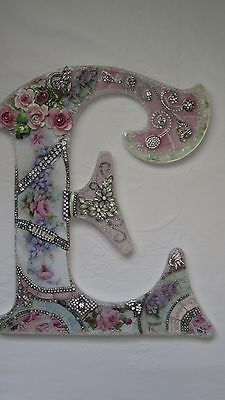 Vtg Chic China Mosaic Pink Roses Wall French Rhinestone Shabby Jewelry Letter E | eBay