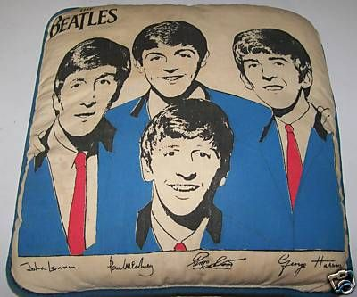 Vintage 1960s Beatles Throw Pillow With Signed Pictures: Beatles Pillow, Beatles Stuff, Beatles Yeah Yeah Yeah, Beatles Board Gotta, Beatles Throw, 1960S Beatles, Music Beatles, Vintage 1960S