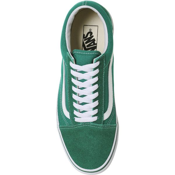 Vans Old Skool Trainers Ultra Marine Green White ($71) ❤ liked on Polyvore featuring shoes, sneakers, vans trainers, white shoes, vans footwear, white trainers and green trainers