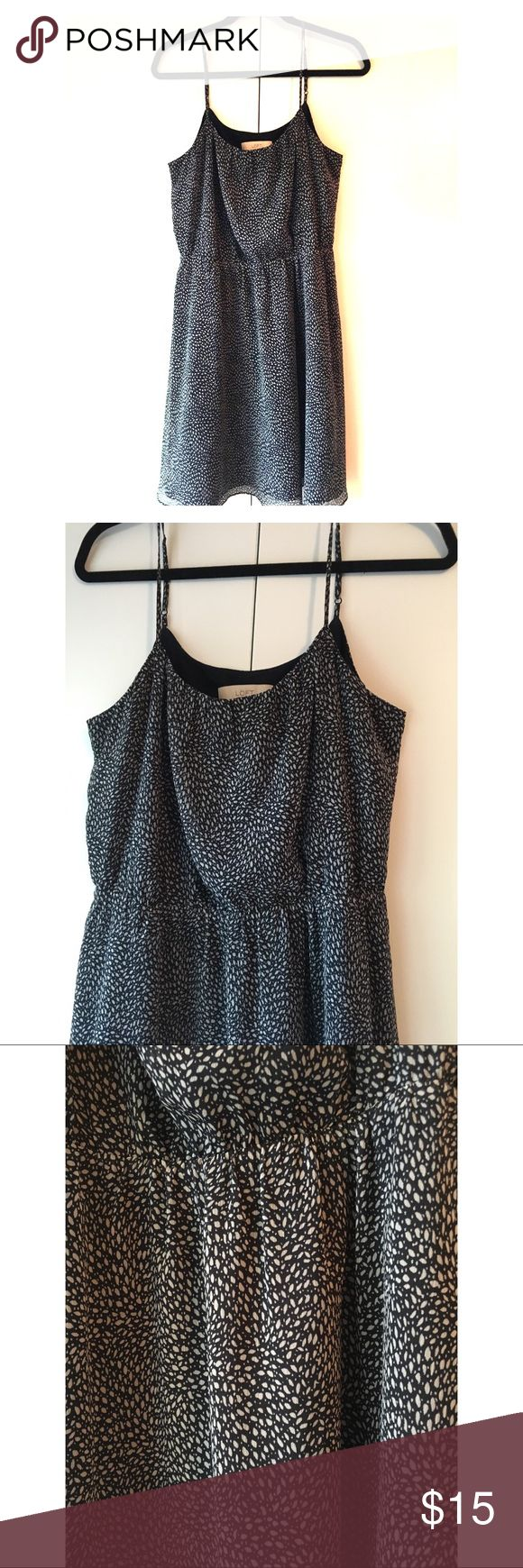 • loft • navy strappy dress • Ann Taylor LOFT navy strappy dress with a white leaf-like pattern. Super adorable dress! Great with a cardigan for work, or with some high heels to a wedding! This dress is on the longer side so great for modesty or tall girls! LOFT Dresses