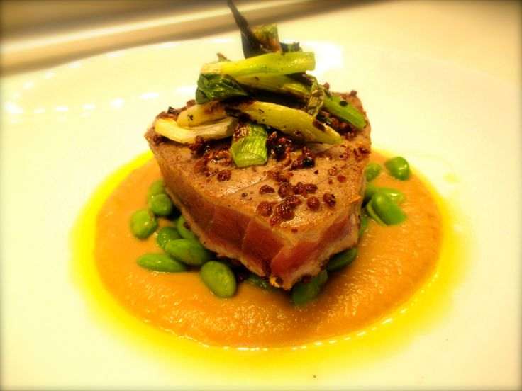 Sneak peek at some of our new menu items - coming soon! Tuna Steak - sichuan peppercorn crusted, edamame, sweet onion soy & charred onions