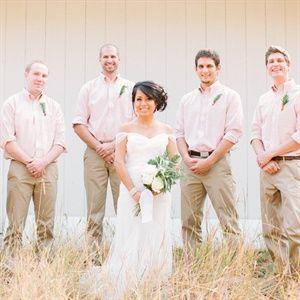 informal groomsmen khaki. Add camo suspenders and make the shirt white. :)
