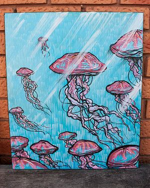Red Jellyfish Painting