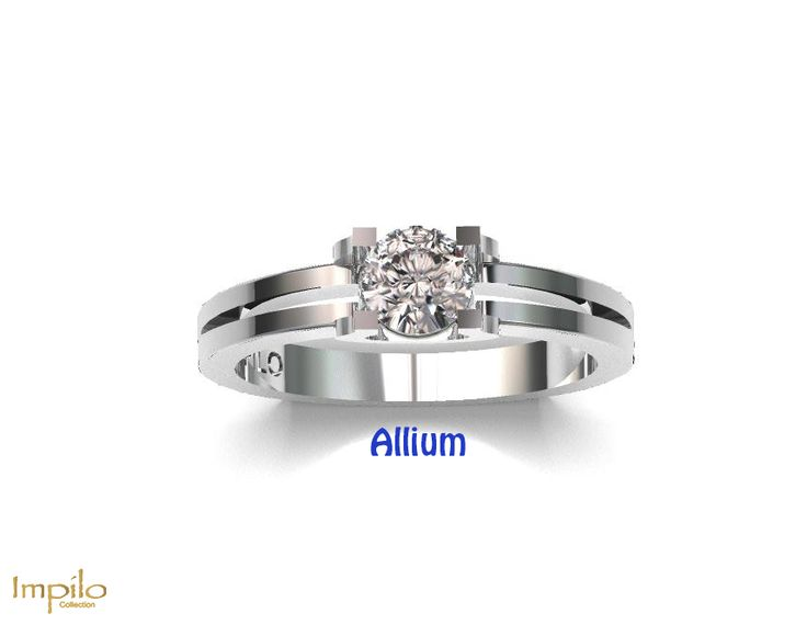 """Allium"" - Round brilliant cut diamond centre stone in a stunning flat band double shank."