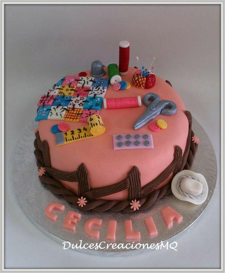 Tarta patchwork costurero manualidades pastel torta - Decoracion cumpleanos adultos en casa ...