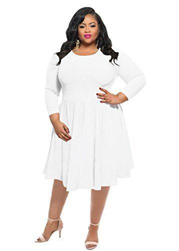 dadff25b12e Evening Dresses Full Figured Women KSHUN Women s New Casual Solid Color Long -Sleeve Round Neck Plus Size Dress White