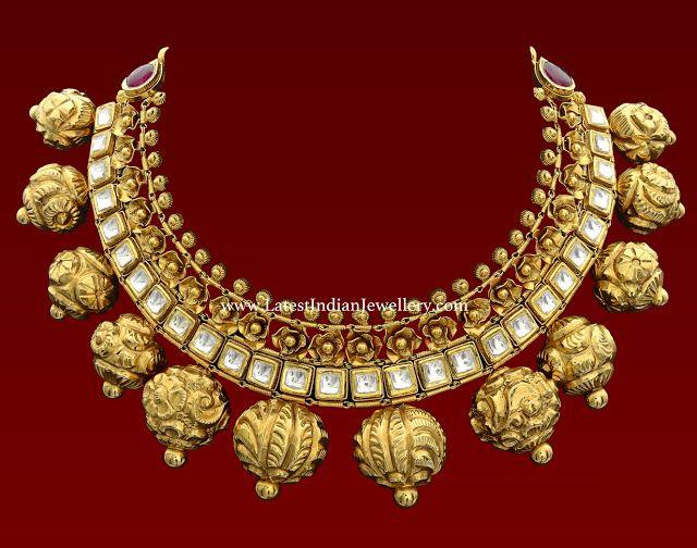 Large Nakshi Balls Antique Necklace