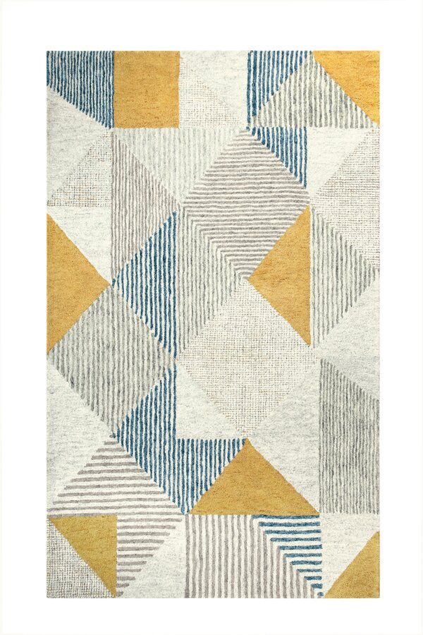 Griffin Geometric Handmade Tufted Wool Blue Gray Yellow Area Rug Textured Carpet Rugs On Carpet Blue Area Rugs