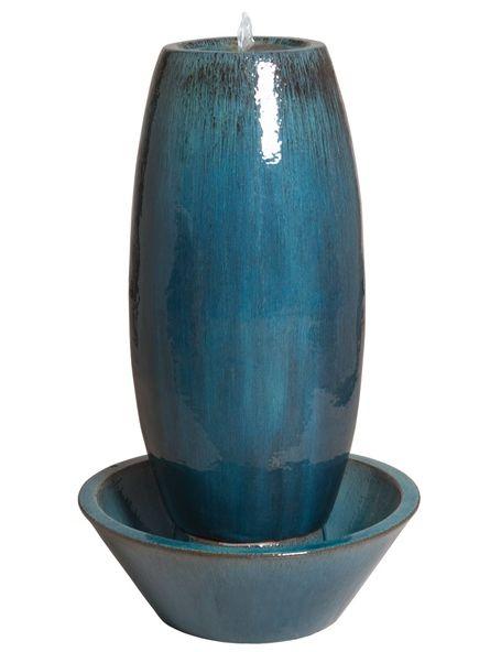 Large Ceramic Garden Fountain   Blue