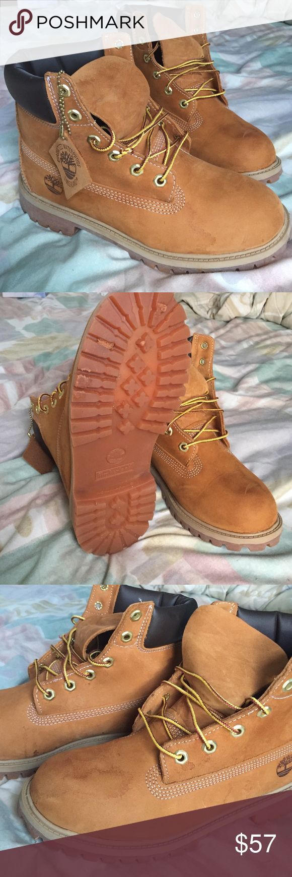 Authentic Timberland Wheat Boots Bought from another Posher. Size 6M was too big for me so now I am reselling for same price I bought them for. ***PRICE IS FIRM*** Slight wear from previous posher but nothing noticeable when the shoes are on. Timberland Shoes