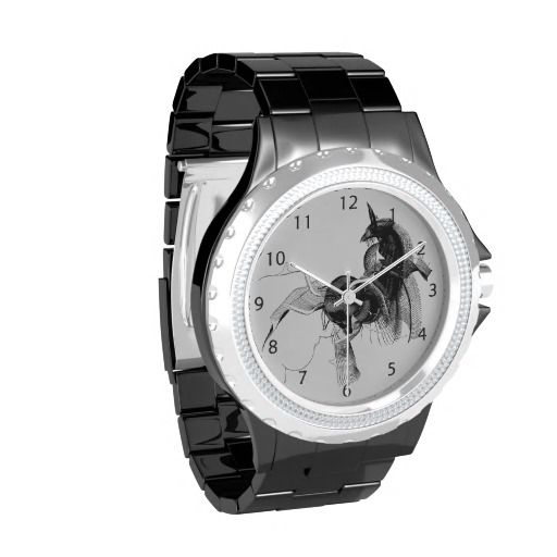 Black Unicorn Abstract Figure / Rhinestone Wrist Watch. You can choose among different styles and colors! #fomadesign