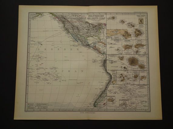Polynesia Pacific map LARGE 1886 original old by VintageOldMaps