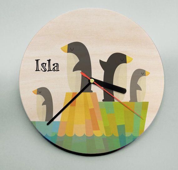 Kids Clock / Penguin Clock / Cute Clock / by MrWolfeClocks on Etsy