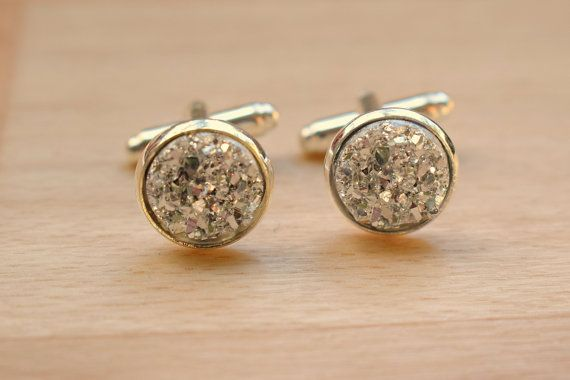 Silver Druzy Cuff Links  Cuff Links For Groom  by SkadiJewelry