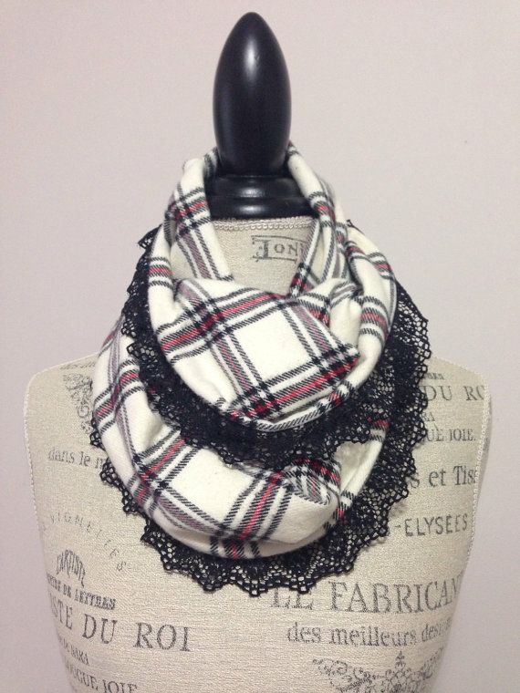Child Plaid Flannel and Lace Inifinity Scarf by BreeAndCrumpany