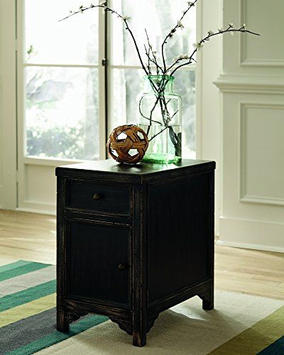 Amazon.com: Ashley Furniture Signature Design Gavelston Chair Side End Table, Rubbed Black Finish: Kitchen & Dining