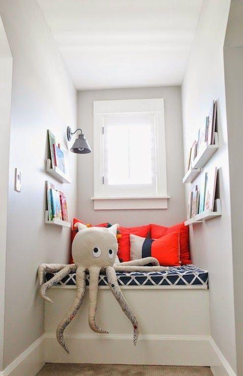 Kids Window Seat, Transitional, boy's room, Benjamin Moore Gray Owl, 6th Street Design School